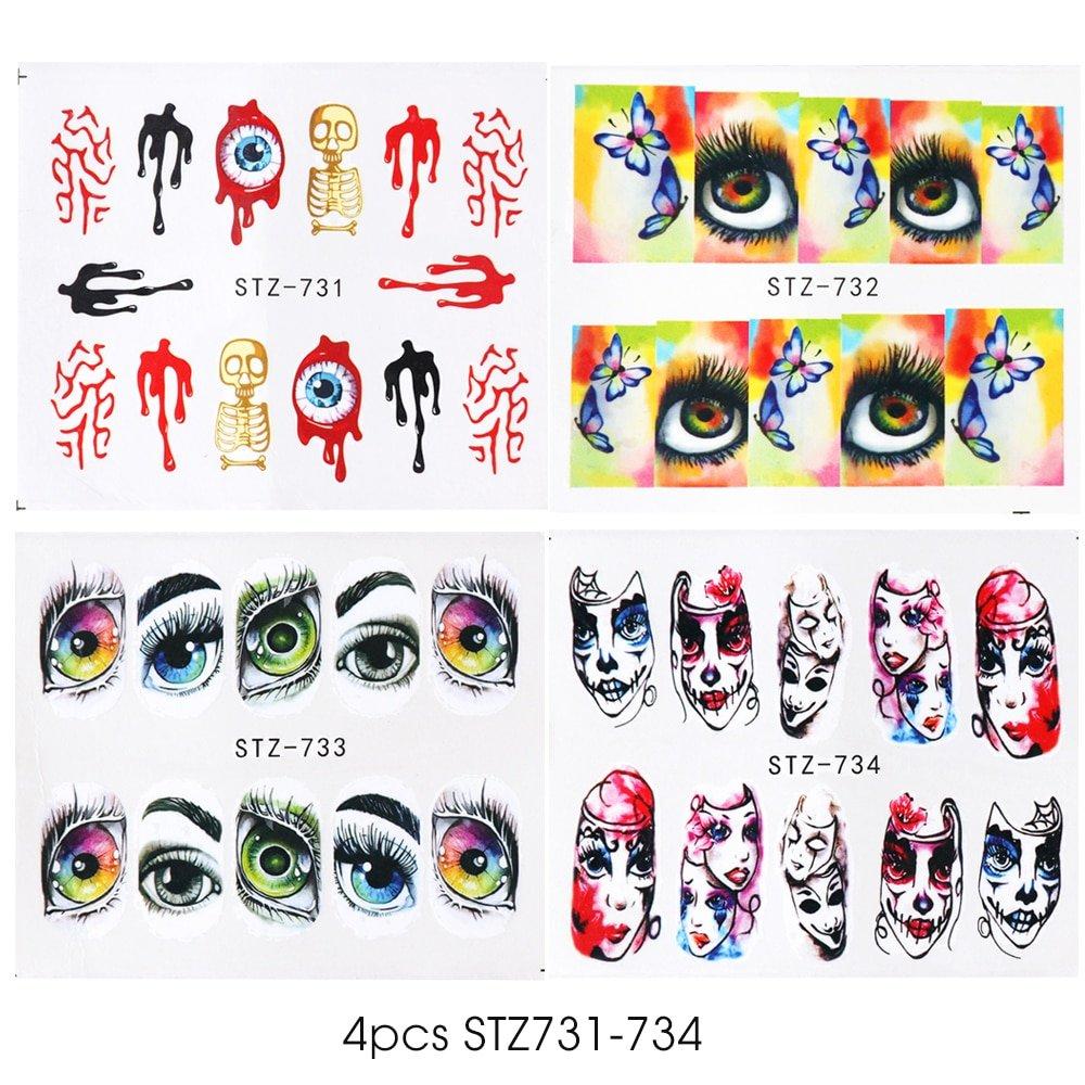 1x Skull Bone Nail Stickers Water Self Adhesive Halloween Slider Tattoo Big Eye Horror Decals for DIY Decor Wrap CHSTZ731-734