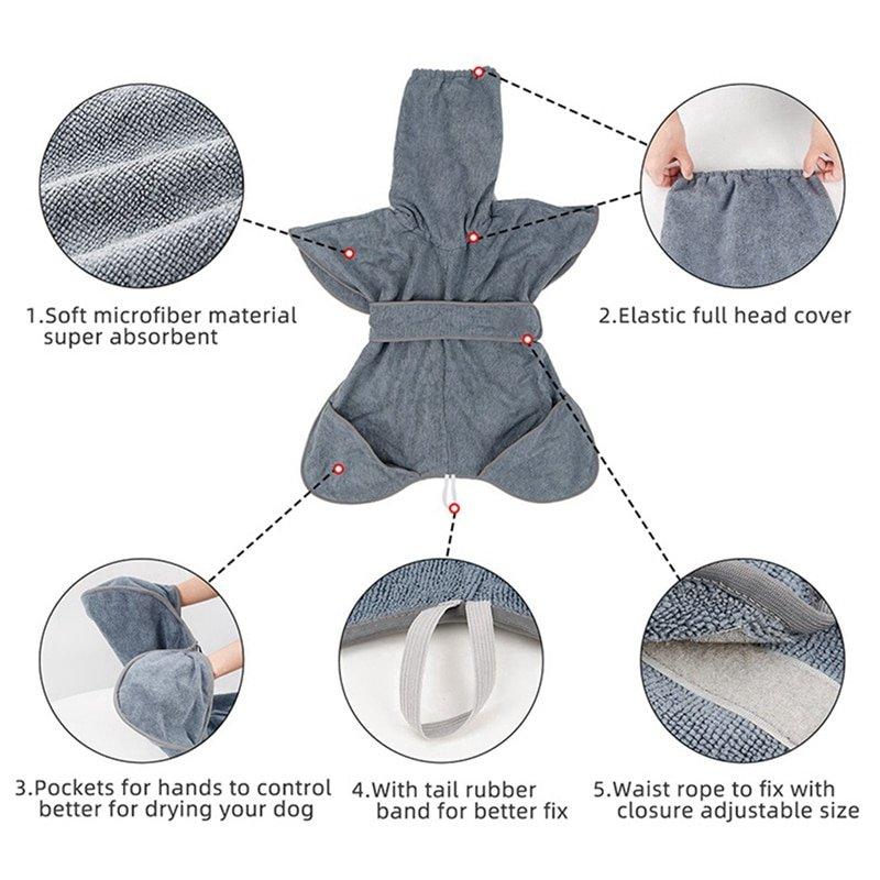 Dog Bathrobe M-XL Pet Dog Bath Towel for Medium Large Dogs Microfiber Super Absorbent Pet Drying Towel