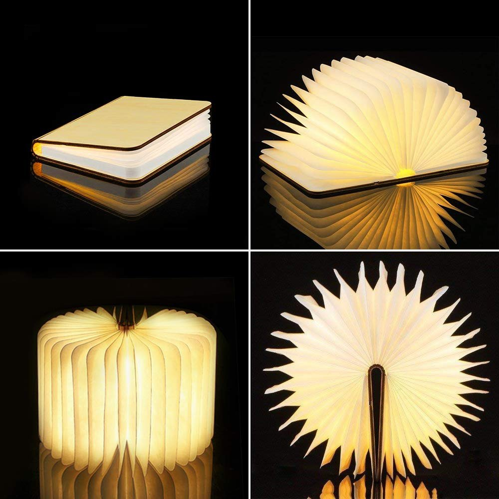 Portable 3 Colors 3D Creative LED book Night Light Wooden 5V USB Rechargeable Magnetic Foldable Desk Table Lamp Home Decoration