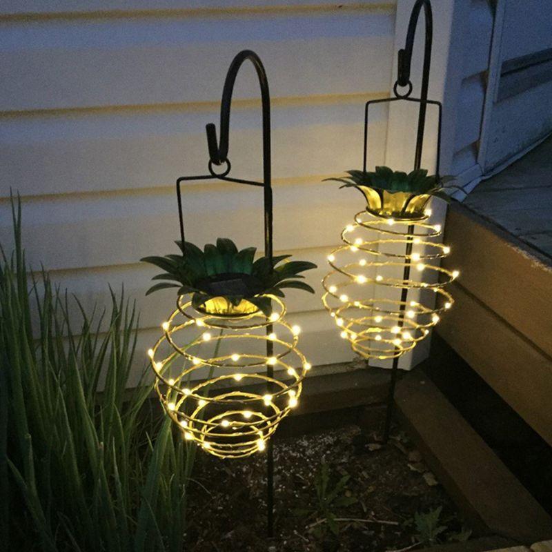 2 Pcs Solar Pineapple Lantern Outdoor Garden Hanging Tree Lights Solar Powered Spiriallights Warm White Handhold Garden Decorati