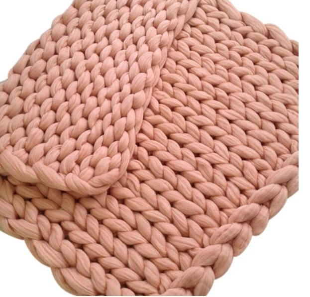 Joylove Fashion Hand Chunky Knitted Blanket Thick Yarn Wool-like Polyester Bulky Knitted Blankets Winter Soft Warm Drop Shipping