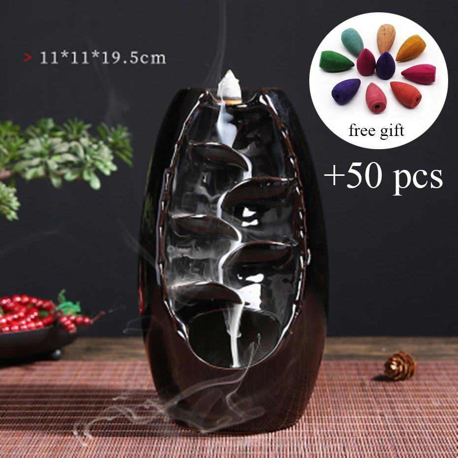 Dropshipping Mountain River Handicraft Incense Holder Ceramic Backflow Waterfall Smoke Incense Burner Home Decor