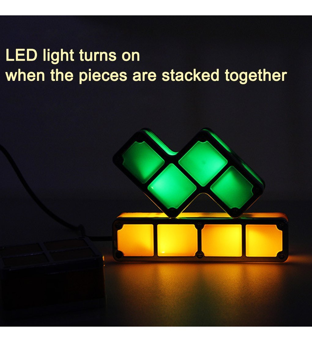 LED DIY Tetris Puzzle Light Stackable Desk Lamp Novelty Constructible Block Night Light Retro Game Tower Baby Colorful Brick Toy