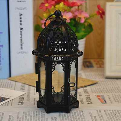 Euro Vintage Style Hanging Candle Holder Hollow Out Wrought Iron Candelabrum Gifts & Decor Moroccan Lantern Tabletop