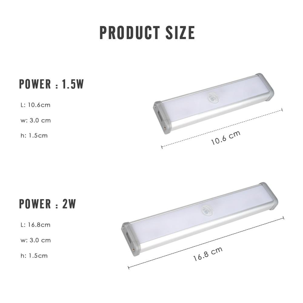 Motion Sensor Night Light Portable Closet Wall Lamp USB Charge 2W 3W 4W Kitchen Bar Under Cabinet Cupboard Stairs Wireless DC 5V