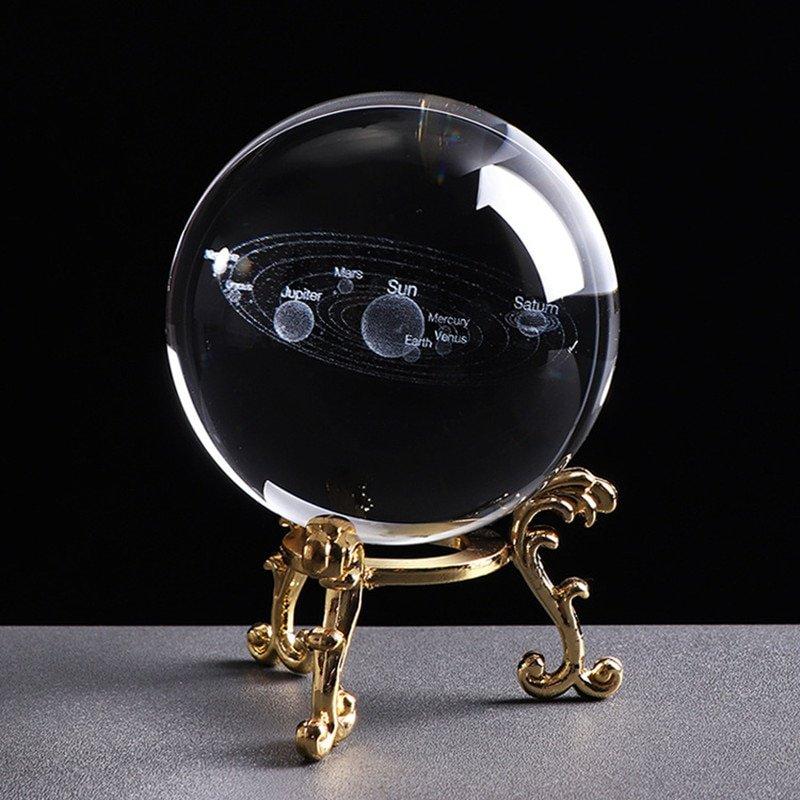 60MM LED Light Laser Engraved Solar System Ball 3D Miniature Planets Model Sphere Glass Globe Ornament Home Decor Gift