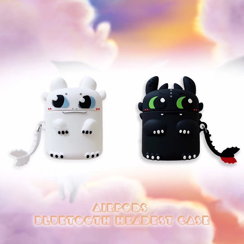New Cartoon Light Night dinosaur soft silicon Wireless Earphone Charging Cover for Apple AirPods 1 2 Bluetooth Box Headset case