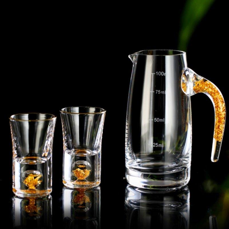 Crystal Gild Built In 24K Gold Leaf Sake Liquor Shot Glass Dispenser Vodka Spirit Sheezer Small Wine Glasses Strong Drink Cup