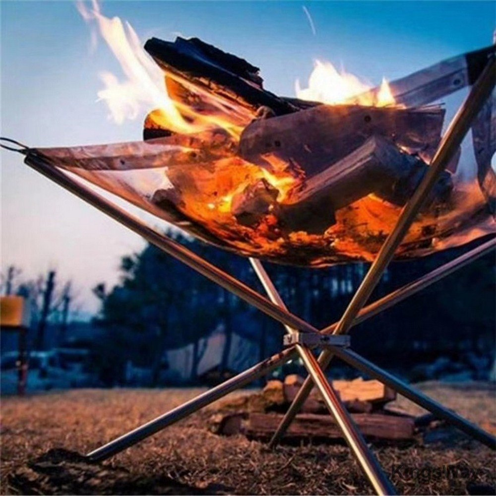 Portable Outdoor Fire Pit Camping Stainless Steel Mesh Fireplace Foldable for Outdoor Patio