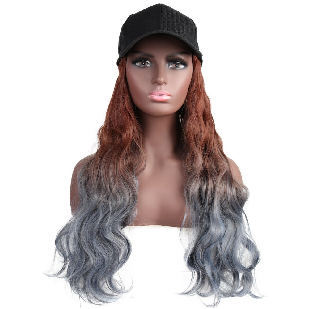Long Synthetic Baseball Cap Hair Wig Natural Black / Brown Straight Wigs Naturally Connect Synthetic Hat Wig Adjustable For Girl