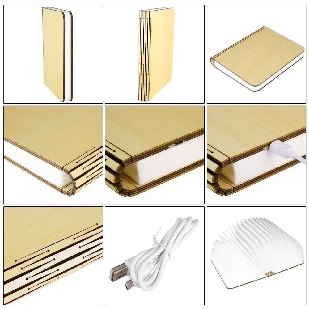 LED Book Lights Portable USB Recharge Magnetic Foldable Wooden Night Light Reading Desk Lamps Creative Novelty Gifts Home Decor