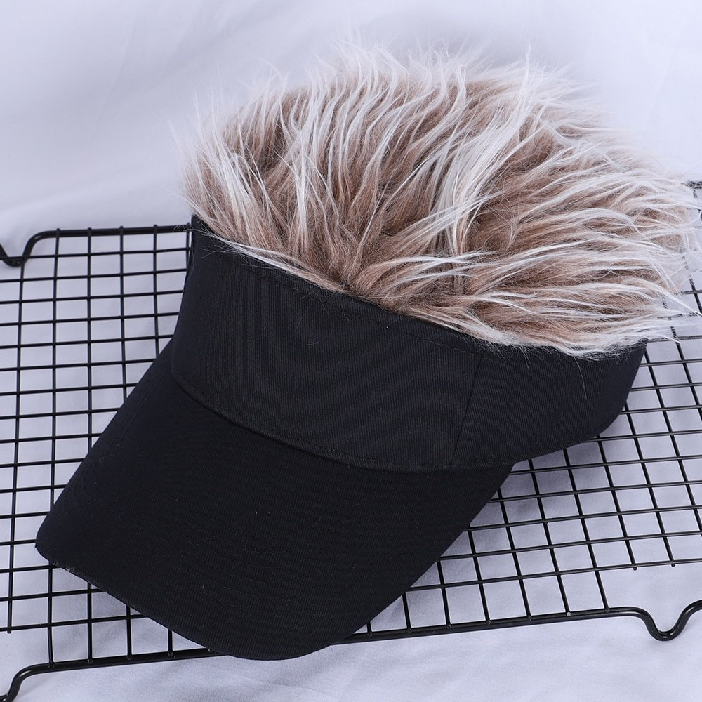Men Women Casual Concise Sunshade Adjustable Sun Visor Baseball Cap With Spiked Hairs Wig Baseball Hat With Spiked Wigs