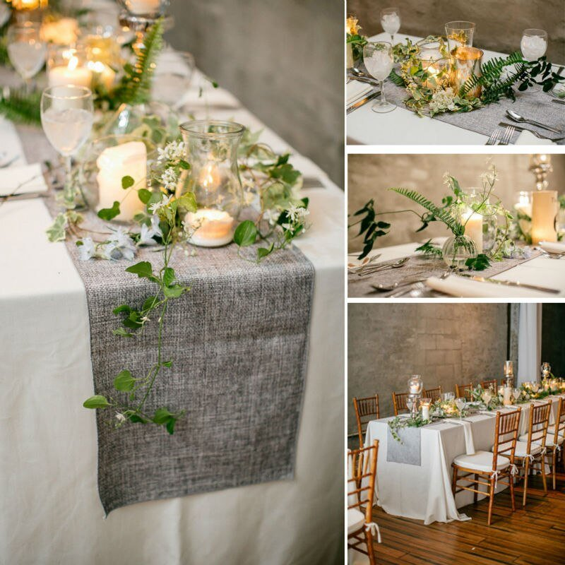 Hot Vintage Natural Burlap Imitated Jute Linen Table Runner Christmas Wedding Gray/ Khaki Table Runners Restaurant Table Decor